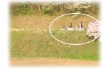 山間の畑近くの集落墓